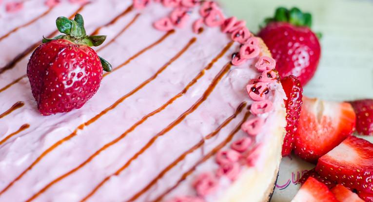 pudding dessert vegan קינוח גבינה אפויה טבעונית תותים