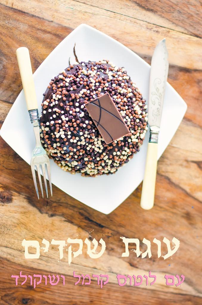 עוגת שקדים טבעונות אפויה עם לוטוס ושוקולד טבעונית
